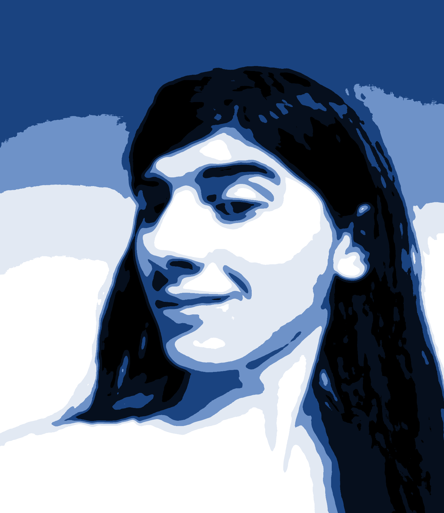 Monochromatic portrait, processed from a webcam with this shader.