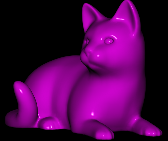 A 3D model of a cat with Phong shading