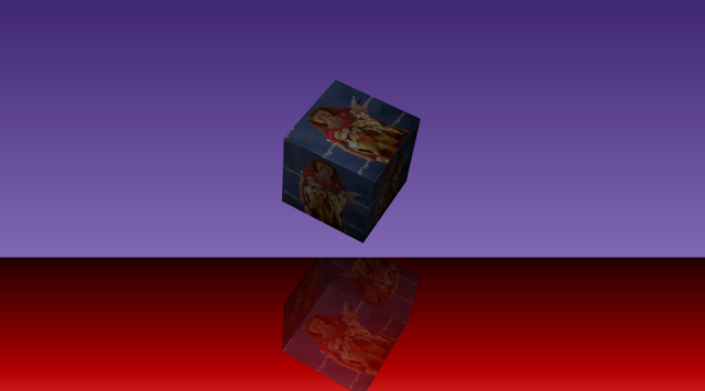 A textured cube with a reflection